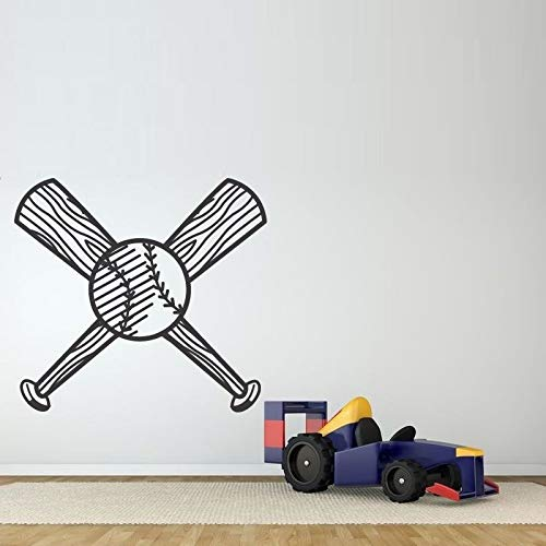 hanmuchen Baseballschläger Ball Wandaufkleber für Wohnzimmer Jungen Schlafzimmer Wohnkultur Abnehmbare Wandtattoos Tapeten Wandbilder Poster 63 * 57 cm