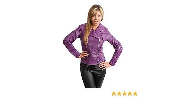 44554bd93 Womens Real Leather Biker Style Fitted Cross Zip Jacket HETTY Purple ...