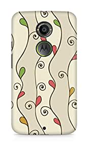 Amez designer printed 3d premium high quality back case cover for Motorola Moto X (2nd Generation) (Lines waves texture leaves patterns)