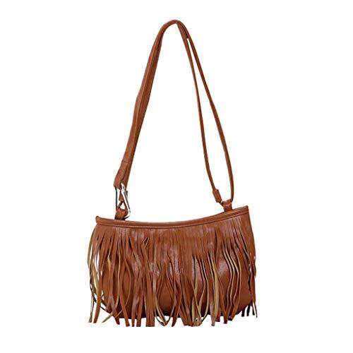 NMERWT Damen Umhängetasche Frauen Quaste Beiläufige Schulter Diagonal Paket Messenger Hobo-Schultertaschen Kleine Handtasche Cross Body Taschen -