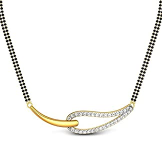 Candere By Kalyan Jewellers Destiny 14k Yellow Gold and Diamond Mangalsutra Necklace