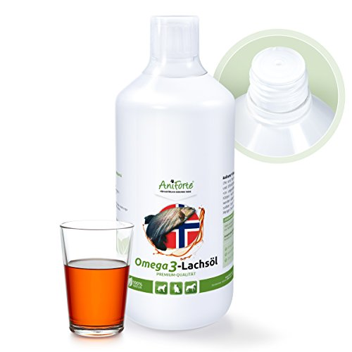 Aniforte Omega 3-Lachsöl 1 Liter- Naturprodukt für Hunde, Katzen und Pferde Test