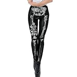 Leggings Gedruckte Muster Frauen Yoga Gym Fitness Running Pilates Strumpfhose Skinny Pants für Halloween (XL,2Weiß)