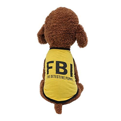 Hawkimin Pullover mops New Pet Frühling und Sommer Breathable Fashion FBI Print Weste Hund Katze - Rosa Piraten Pet Kostüm