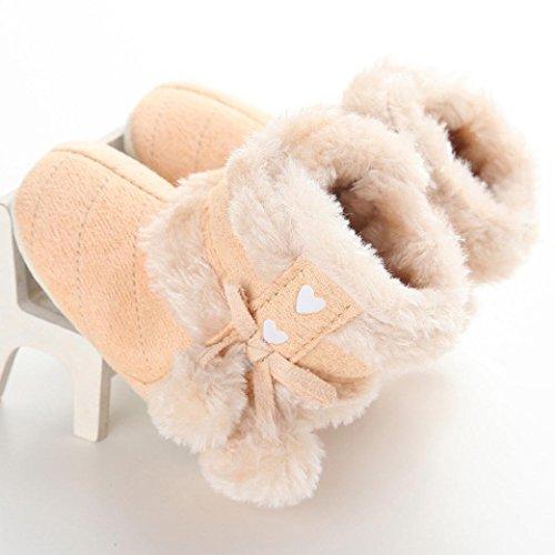 kingko® Baby-Pelzkugel Schnee Dekor Winterstiefel Hallenboden Anti-Rutsch-Säuglingsschuhe Gelb