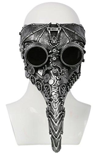 Pest Maske Cosplay Kostüm Erwachsene Lange Schnabel Mask Silber Harz Mechanische Zahnrad Maske für Halloween Prop