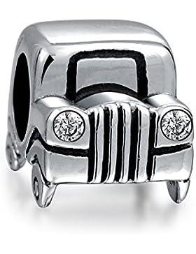 Sterling Silber Jeep Auto Bead CZ Scheinwerfer Charms