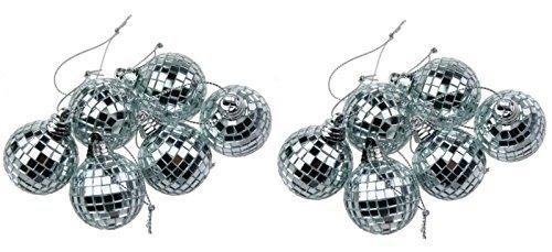12 Silber Minidisco-Spiegelkugel Weihnachtskugel Haus-Partei-Dekoration ...