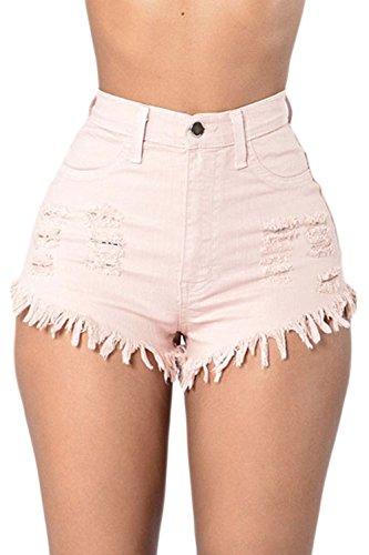 Las Mujeres De Cintura Alta con Flecos Casual Ringered Hot Jeans Denim  Shorts Blanco L 0f95e03e89e