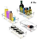Bac Rangement Frigo (8Pcs) - Bac de Réfrigérateur en Plastique Acrylique Transparent - Boite de Rangement pour Frigo et Congélateur - Organisateur pour Salles de Bains, Freezer, Placard, Tiroir (20cm)