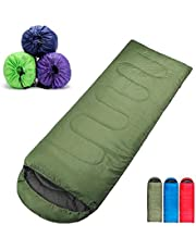 LWVAX 2018 All Seasons Waterproof Adult Sleeping Bag for Camping, Hiking and Adventure Trips - Size: Adult (220 X 70 cm) - Color: Army Green