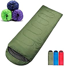 LWVAX New 2018 All Seasons Waterproof Adult Sleeping Bag for Camping, Hiking and Adventure Trips - Size: Adult (220 X 70 cm) - Color: Army Green