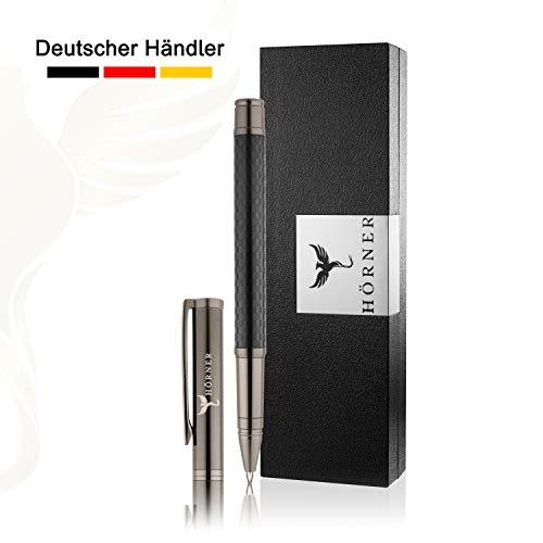 HÖRNER CARBONEO - Hochwertiger Carbon Tintenroller I Schwarz aus Metall I in edler Geschenkbox -