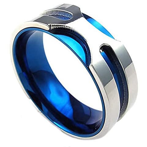 Epinki Men's Stainless Steel Jewelry Rings Bands Double-Deck Design Blue And Silver,Size 11