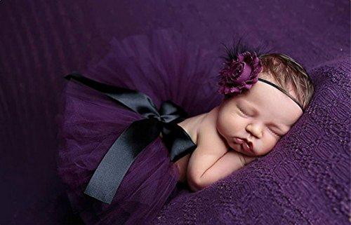 0 6 Neugeborene Kostüm Monat - Butterem Neugeborene Baby Säugling Fotografie Stütze Kostüm Outfits Tutu Rock Outfits Blume Stirnband Set, Lila