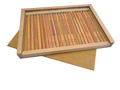 Holzschiebebox XL, gefüllt mit 24 Buntstiften (Avantgarde Riesenzauber, natur)