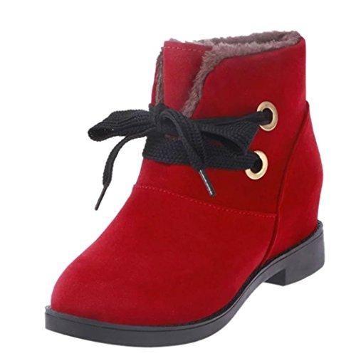 DOLDOA Damen Winterstiefel,Einfarbig Schnürstiefel Innerhalb der Zunahme Stiefel Biker Boots (EU: 36, Rot)