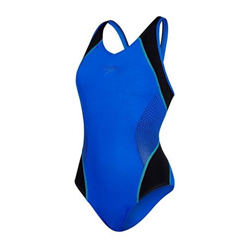 Speedo Fit Splice Muscleback Bañador de Espalda Abierta, Mujer, Azul (Beautiful Blue / Black / Spearmint), 38