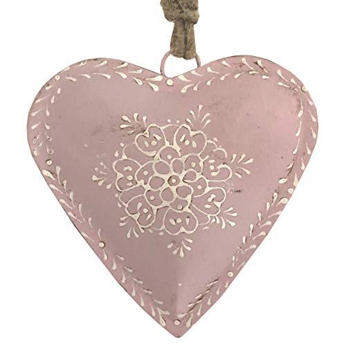 L'ORIGINALE DECO Cœur à Suspendre en Métal Fer Patiné Rose 16 cm x 16 cm