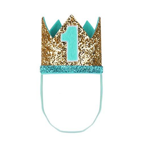 Tiaobug 1. Geburtstag Party Kronen mit Zahlen Baby Junge Mädchen 1 jahr Party Kopfschmuck Hut Prinzessin Prinz Kronen Dekoration Zubehör Accessoires für Fotoshooting Mintgrün Gold One Size