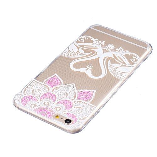 iPhone 6 Plus Hülle, E-Lush Beliebte Indische Sonne Muster für Apple iPhone 6/6S Plus (5.5 zoll) Telefonkasten TPU Silikon Rand Acryl Rückseite Abdeckung Handyhülle Clear Transparent Schutzhülle Weich Liebe