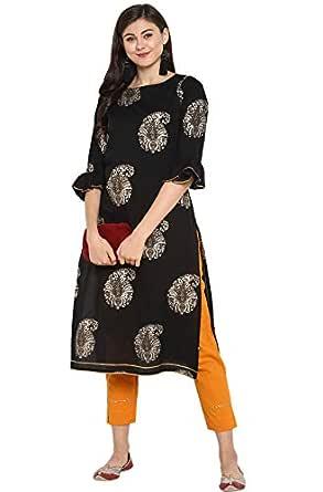 Janasya Women's Multicolor Cotton Foil Print Straight Kurta With Narrow Pant