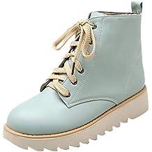 QinMM Zapatos Alto Deportivos para Mujer Zapatos de Combate Casuales Zapatos con Cordones Botas