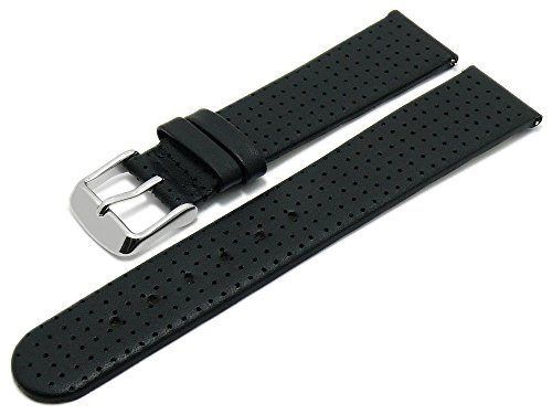 Meyhofer EASY-CLICK Uhrenarmband Adelaide 22mm schwarz Leder perforiert matt My2heml3019 (Adelaide Leder)