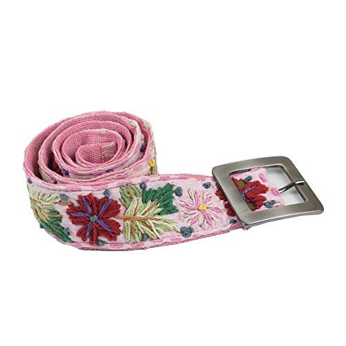 bb Klostermann 90049 Damen Gürtel, 98-102 cm, Baumwolle, Unikat, Blumen, Ethno Style, Rosa (Gestickte Blumen-gürtel)