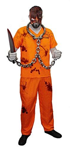 GRUSELIGE STRÄFLINGS VERKLEIDUNG MIT WEISSER HARTPLASTIK HORROR HOCKEY MASKE= KOSTÜM IST IN ORANGE MIT DER AUFSCHRIFT PRISONER AUF DER VORDER UND RÜCKSEITE = ERHALTBAR IN VERSCHIEDENEN GRÖSSEN = DAS KOSTÜME (Das Halloween Kostüm Neue Schwarze Orange Ist)