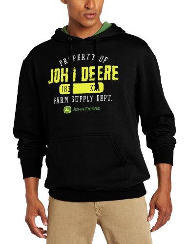 John Deere Men's Property Off Logo Core Hood Pull Over Fleece John Deere Hoodie Sweatshirt