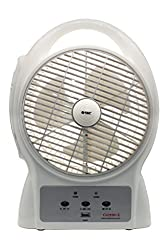 Orbit Gazebo 3 Blade Rechargeable Table Fan(White, Grey)