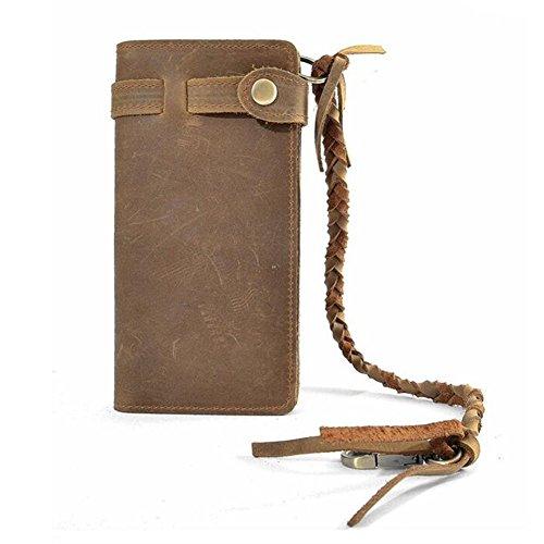 Xiaopangzi gli uomini e le donne in vera pelle, stile Long Wallet Card Cinghia con la mano Multicolore (Light Brown)