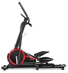 Crosstrainer HS-070C BUZZ schwarz/rot von Hop-Sport Ellipsentrainer mit Pulsmessung 18kg Schwungrad Belastbarkeit bis 150kg