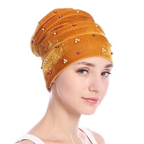 VRTUR Damen Einfarbig Friesen Indien Kopfkappe Blume Elastizität MuslimTurban Kappe Wrap Kappe