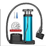 Cassiel Y Bomba Plegable Portátil, Mini Azul con Manómetro