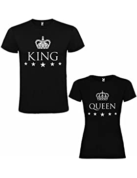 Pack de 2 Camisetas Negras para Parejas, King y Queen, Blanco