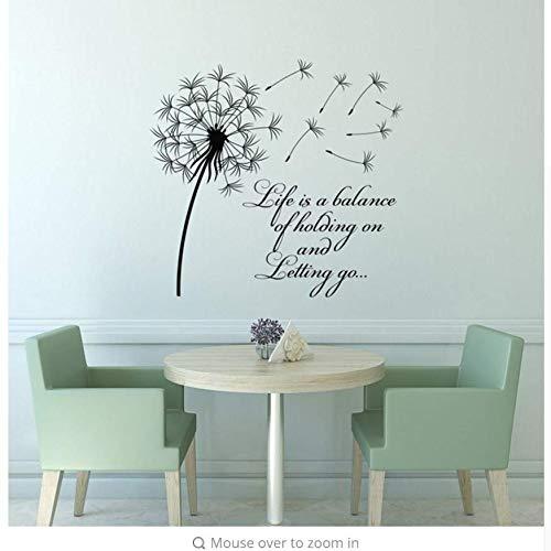 mzdzhp Wandaufkleber Löwenzahn Wandtattoo Leben Ist Ein Balance-Stick, Um Inspirierend Zitate Wandkunst Vinyl Schlafzimmer Blumenschmuck 79X74cm Loslassen -