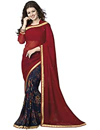 Dream Beauty Fashion Women's Georgette Saree With Blouse Piece (Red)
