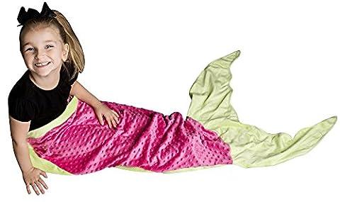 PoshPeanut weiche, bequeme Minky Meerjungfraudecke, Kuscheldecke für Alter von 3 bis 13mit gratis Puppendecke, Rosa / Grün, For Ages 2-10