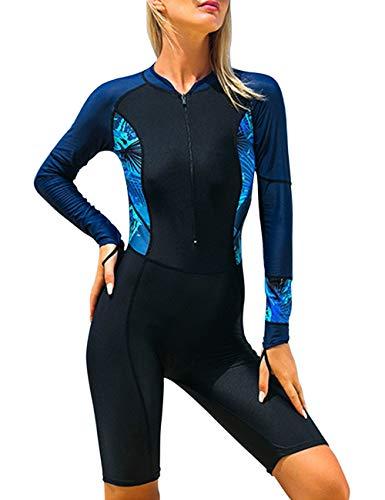 besbomig Femmes Combinaison Maillot de Bain Full Body Combinaison de Plongée Zippé Anti-UV Manches Longues pour Plongée Natation Surf, Pas Le néoprène