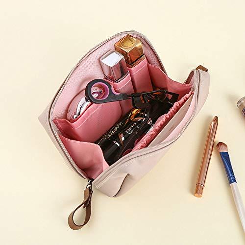Trousse à maquillage de poche petite poche à rouge à lèvres portable simple imperméable grande capacité bleu foncé, rose pâle