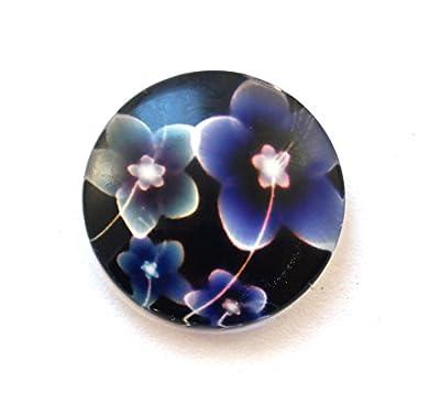 Lot de 6 cabochons en verre fleurs 20 mm