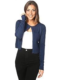 KRISP® Damen Kurze Basic Strickjacke mit Kaschmir