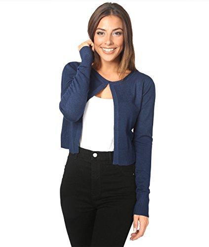 5290-NVY-ML: Weiche Elegante Jacke mit Knopf (Marineblau, M/L)