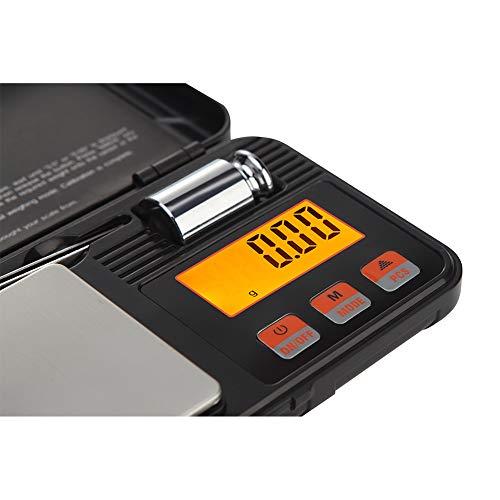 RuiJingKE Werkzeug Tragbare Elektronische Waage Box, Der Hochpräzise 0.01G Goldschmuck Tasche, Mit Einem Großbild-LCD-Display Wägebereich 50G ~ 1000G,Schwarz