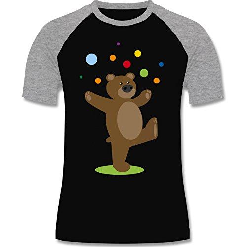 Shirtracer Sonstige Tiere - Kinder-Motiv Bär - Herren Baseball Shirt Schwarz/Grau Meliert