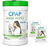 CPAP Mask Cleaning Wipes - 110 Pack + 2 Travel Wipes | The Original Unscented Cleaner for Masks | Equipment & Machine Supplies by RespLabs