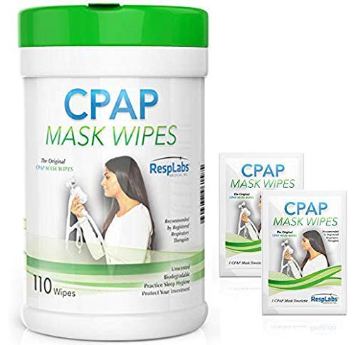 RespLabs CPAP Mask Wipes - 110 Pack + 2 Travel Wipes (Cpap-maske Filter)