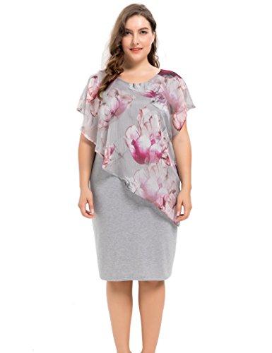 Chicwe Damen Entwurfed Chiffon Geschichtet Viskose Strecken Große Größen Kleid Violett Multi 4X (Taille Elastische Petite-jersey)